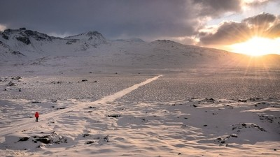 Snowy road to the sun