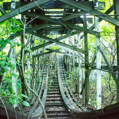 An Abandoned Amusement Park Roller Coaster over grown