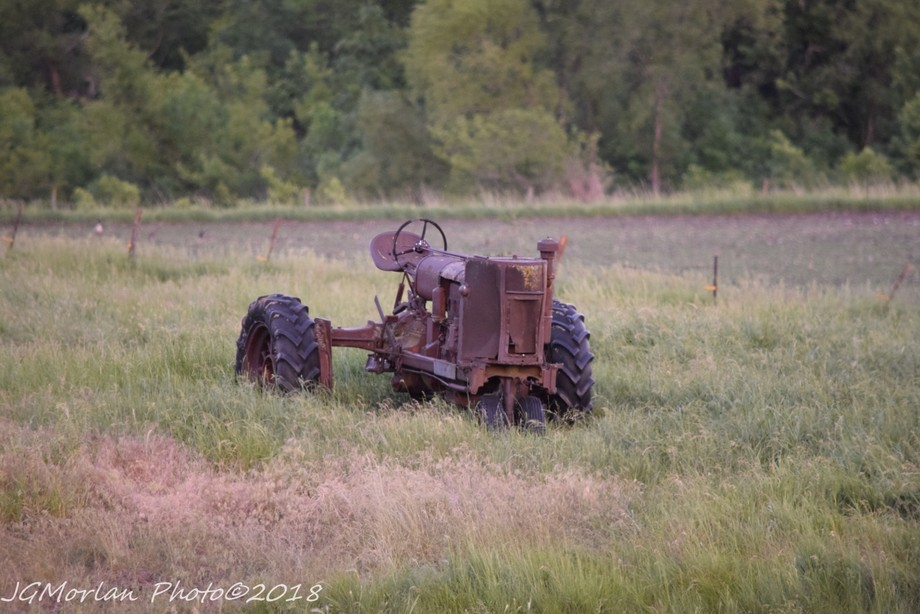 Old style tractor dumped in a pasture over 15 years ago.