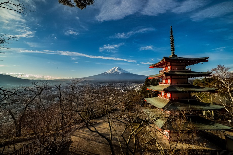 The Chureito Pagoda (忠霊塔, Chūreitō) is a five storied pagoda on the mountainside overlook...