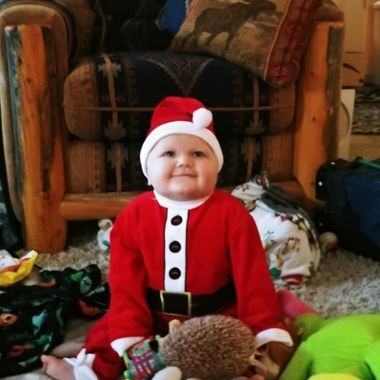 My 9 month old grandson ready for his first Christmas????
