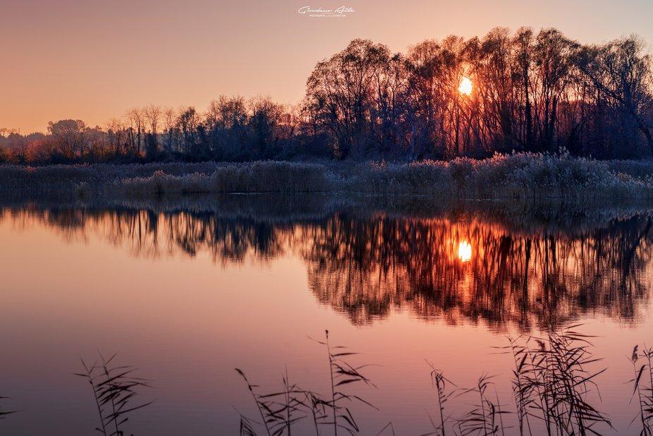 Peatlands of Sebino in sunset time