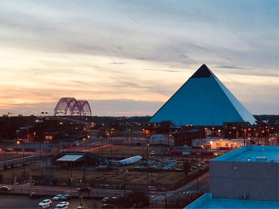 Memphis Pyramid & Hernando De Soto Bridge