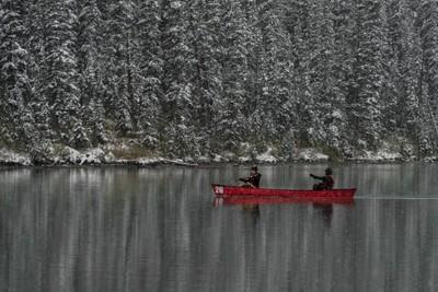 Rowing in Lake Louise