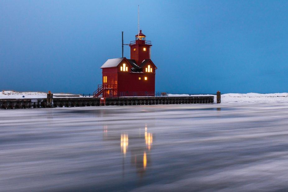 Winter long exposure of the Holland Harbor Light, aka Big Red.