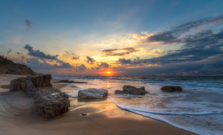 Sunset in Ashkelon National Park coast