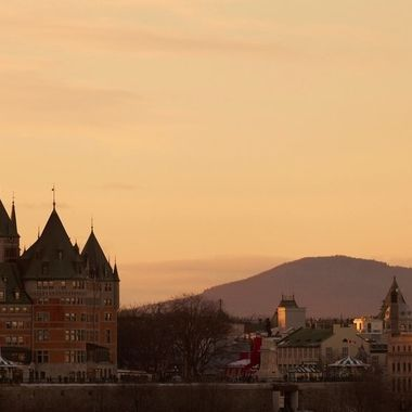 Old Quebec Cityscape at Sunset
