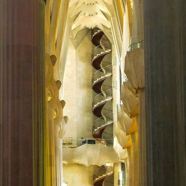 Detail of a stairs in the Sagrada Familia cathedral in Barcelona, Spain
