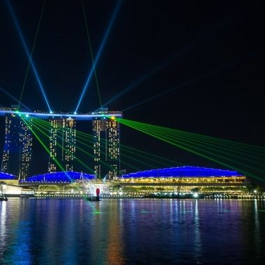 Light show from the Marina by the Bay hotel, Singapore