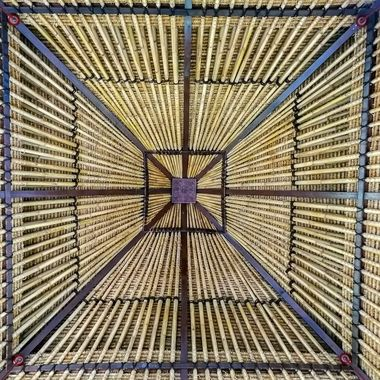 Looking up at the roof at Laguna Golf Course clubhouse, Bintan, Indonesia