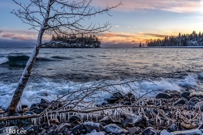 Sunset and ice at Split Rock