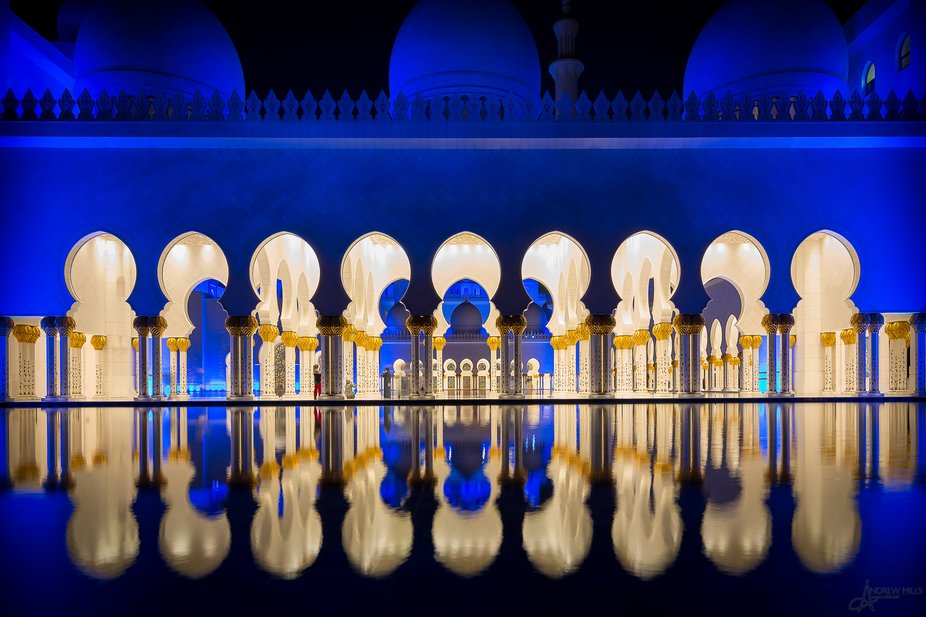 Nighttime reflection at the Sheikh Zayed Grand Mosque, Abu Dhabi, UAE