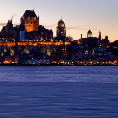 Quebec City at Night from the Levis shoreline. The ice flows in the St Lawrence river provide an interesting bit of foreground ...
