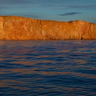 Perce Rock Glowing in the Setting Sun - Gaspe Region, Quebec