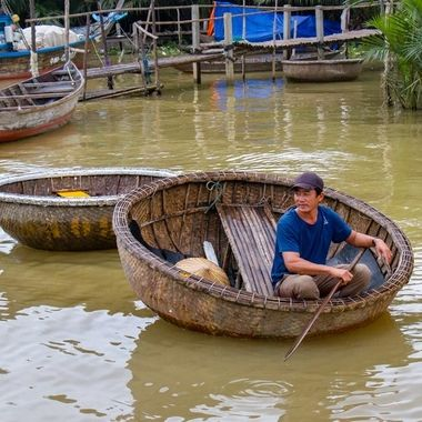 Round boats at Hoi An, Vietnam. Originally used as baskets, but due to tax rules in the past during French occupation on boats, they were used as boats instead