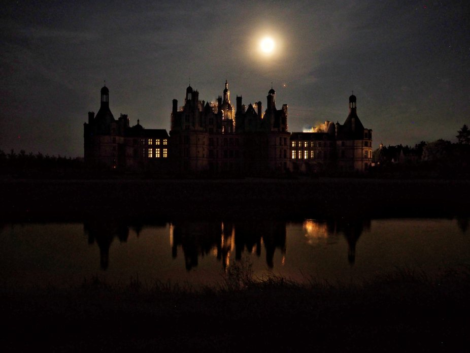 Chateau de Chambord, during blood moon eclipse