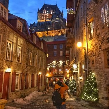 Behind the Scenes - Old Quebec City looking up at the Chateau Frontenac