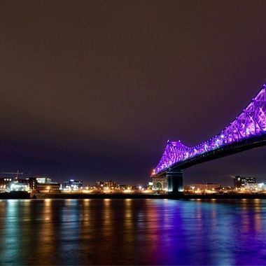 Jaques Cartier Bridge and the Molson Plant - Montreal, Quebec, Canada