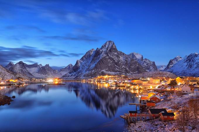blue hour in Reine by judithkuhn - Bright City Lights Photo Contest