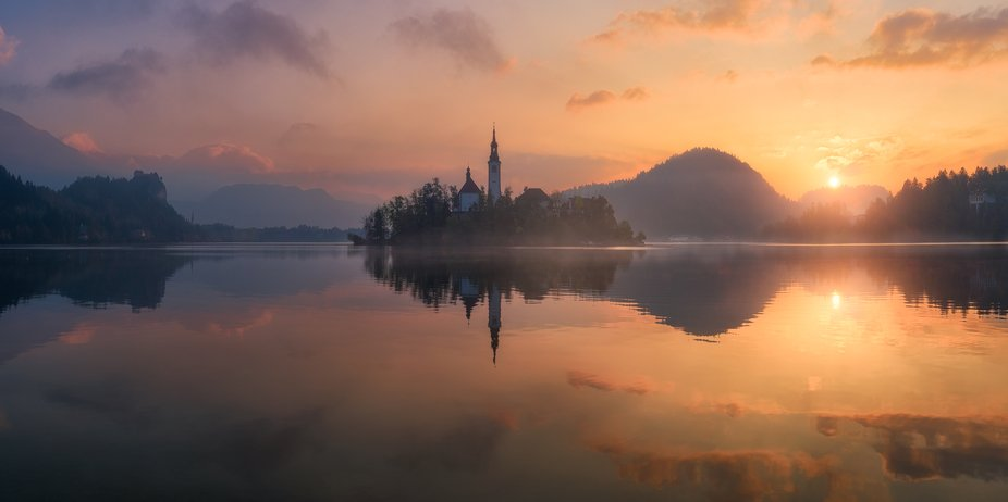 Sunrise in the Bled Lake in Slovenia