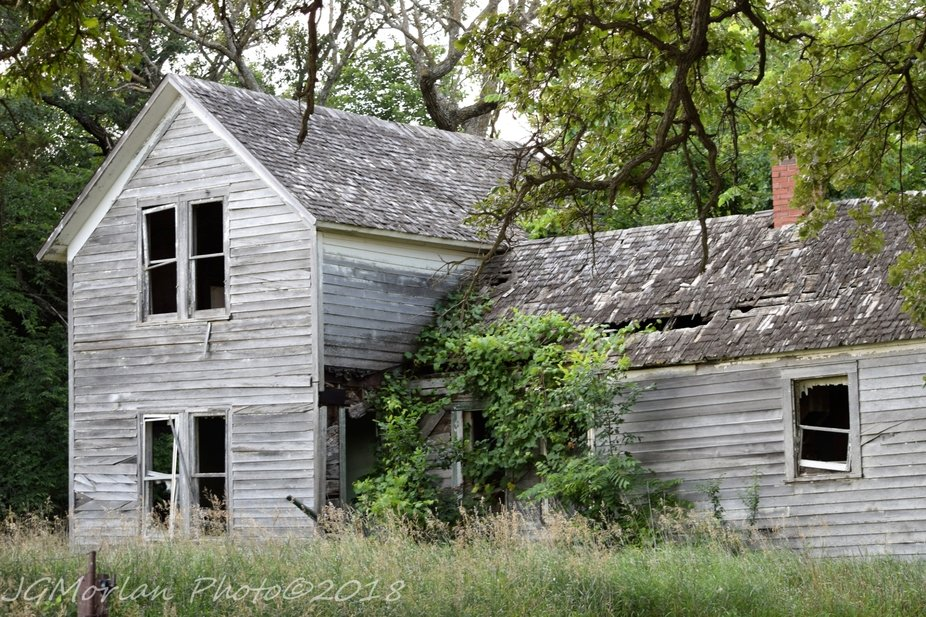 Rural family home left to rot over time.
