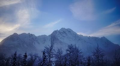 Pioneer Peak covered in snow