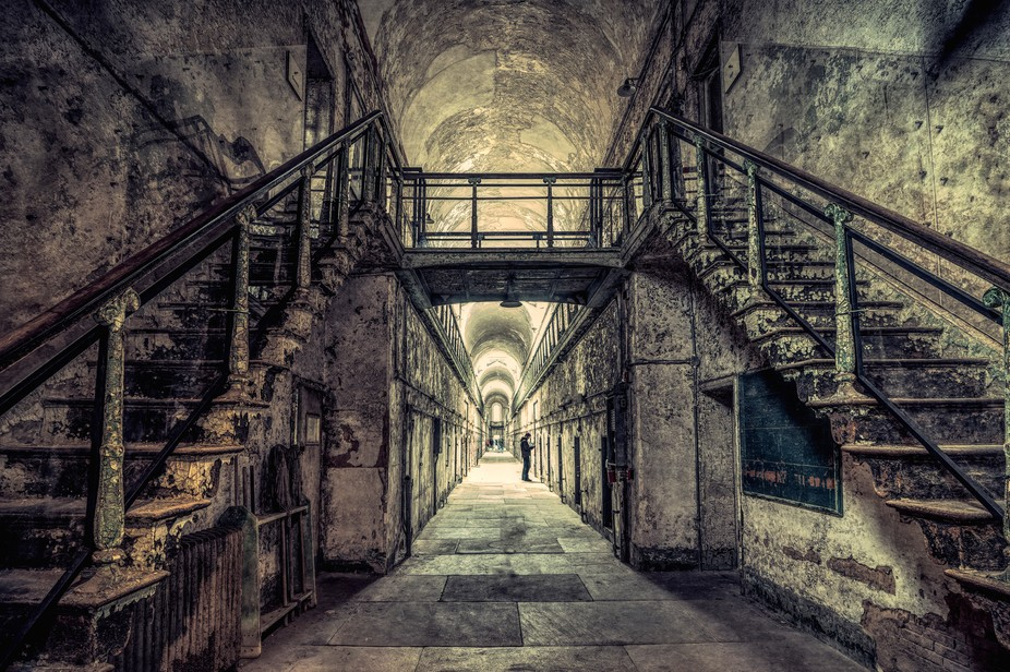 Inside a cellblock of the Eastern State Penitentiary in Philadelphia, PA, USA.