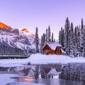Sunset at Emerald Lake in Yoho National Park on New Years Eve 2018