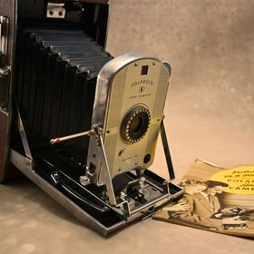 First version of the Polaroid land Camera model 95 developed by Dr. Edwin Land.
