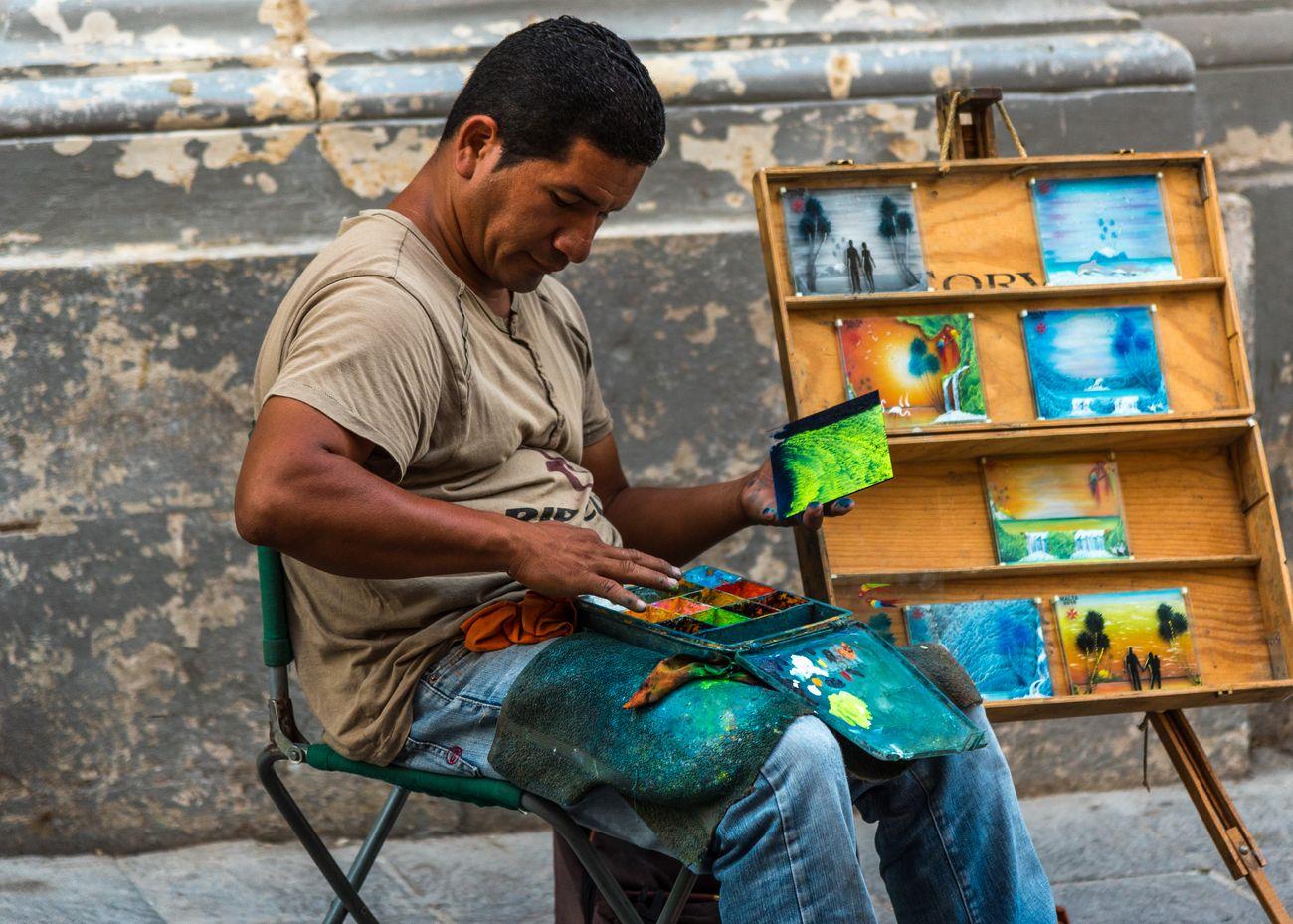 Street artist in Valletta
