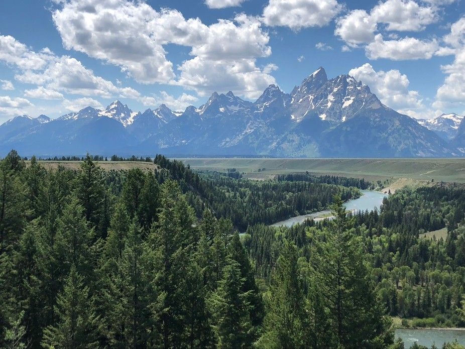 This photo was taken at Grand Tetons National Park overlooking the Snake River. Ansel Adams made ...