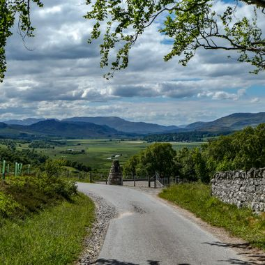 Looking out beyond Ewan Macpherson's Cairn and up the Spey Valley.