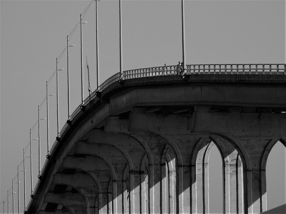 Vilano Bridge Crossing in Black and White
