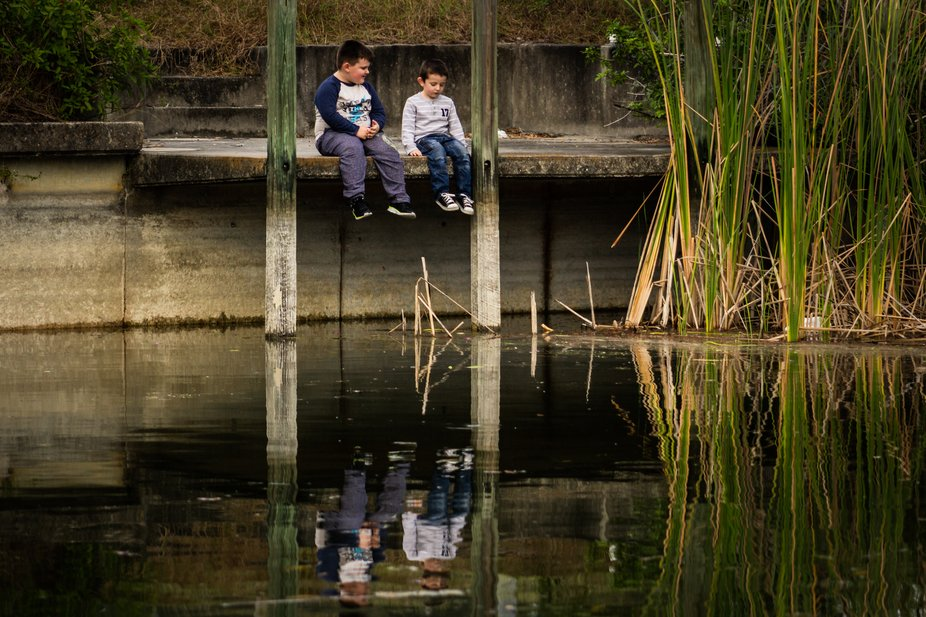 This photo is of my two little boys. We live along a canal in South Florida. At the end of the ca...