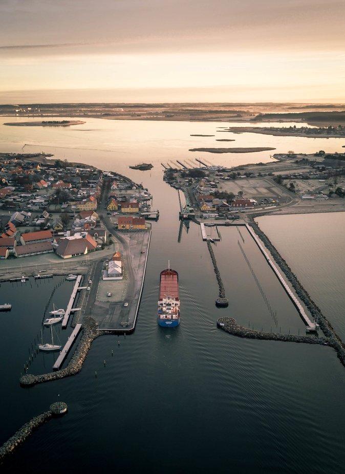 Coaster entering Karrebaek fjord at Enoe harbour