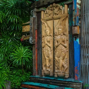 Door to one of the Cottages at Santhiya resort, Koh Phangan, Thailand