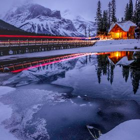 Emerald Lake, located in the Canadian Rockies, is a perfect winter getaway during the winter months.