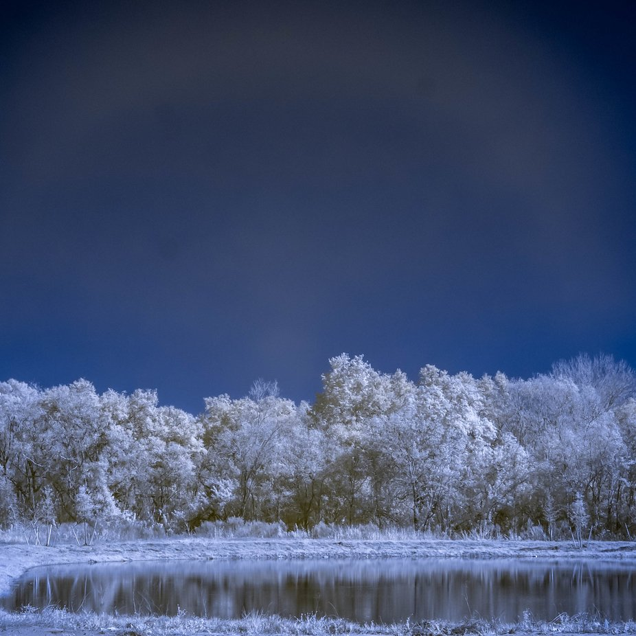Little pond, no clouds - infrared