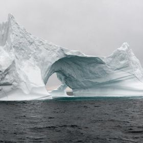 big iceberg floating peacefully
