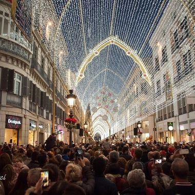 Ciudad de Malaga.Iluminanicion navideña de la calle Larios