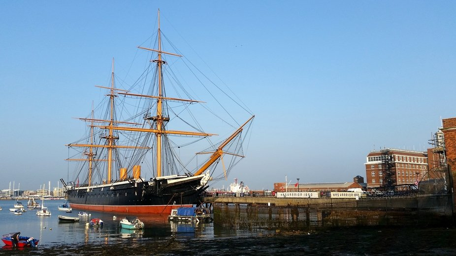 HMS Warrior at the Historic Dockyard in Portsmouth. Taken on my mobile phone, September 8th 2014.