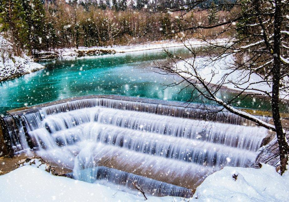 Lech waterfall in Füssen in Bavaria