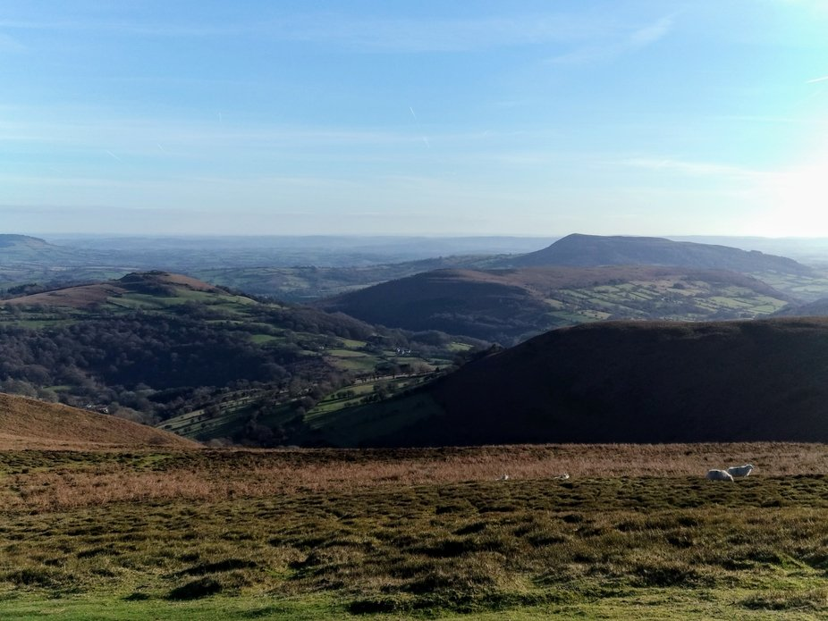 Winter view from the top of Crug Mawr, Black Mountains Wales.