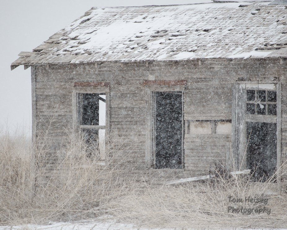 An abandoned ranch house in a snowstorm on the Texas high plains.