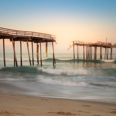 The Iconic Frisco Pier in Cape Hatteras North Carolina.  Unfortunately this pier was torn down in late 2018