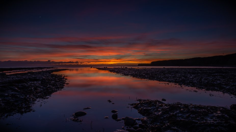 The last of the colour after the sun had set over Kimmeridge Bay in Dorset. Myself and the other ...