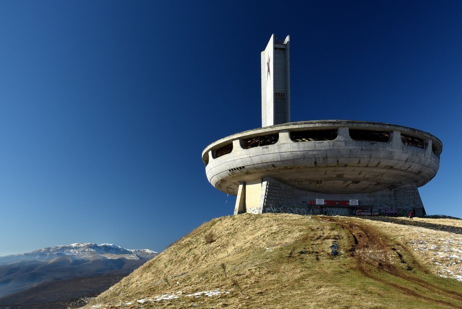 Buzludzha, the derelict remains of a Socialist Era cultural centre built high on a peak in the St...