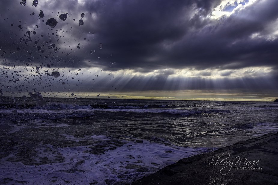 Beautiful light rays coming through the stormy clouds in Bolinas, California. ©Sherry Marie Phot...