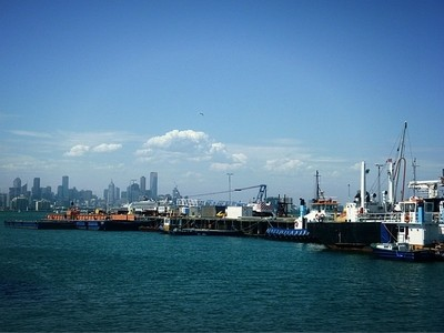 Melbourne Backdrop to Williamstown Jetties