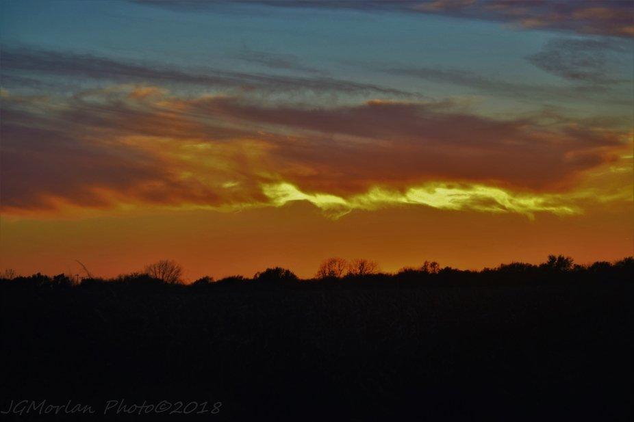 Sun Set Over a Field
